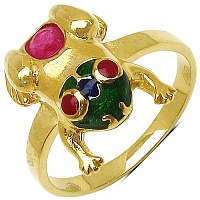 3.10 Grams Red Synthetic Stone & Ruby Gold Plated .925 Sterling