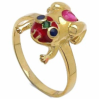 3.00 Grams Ruby Gold Plated Silver & Copper Blue, Green & Red E