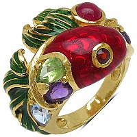 7.70 Grams Multitourmaline Gold Plated .925 Sterling Silver Red