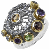 7.20 Grams Multigemstones Silver & Copper Ring