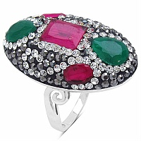 8.10 Grams Red, Green, White & Black Crystal .925 Sterling Silv