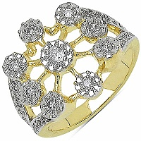 4.80 Grams White Cubic Zircon Gold Plated Brass Ring