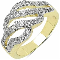 4.00 Grams White Cubic Zircon Gold Plated Brass Ring