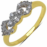 1.00 Grams White Cubic Zirconia Gold Plated Brass Ring
