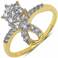 1.40 Grams White Cubic Zirconia Gold Plated Brass Flower Sha