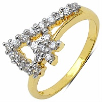 1.50 Grams White Cubic Zirconia Gold Plated Brass Flower Sha