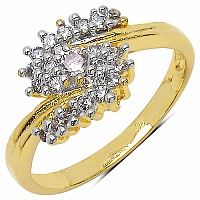 1.60 Grams White Cubic Zirconia Gold Plated Brass Ring