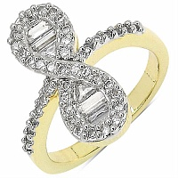 4.40 Grams White Cubic Zircon Gold Plated Brass Ring