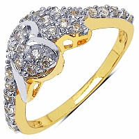 1.90 Grams White Cubic Zirconia Gold Plated Brass Heart Shap