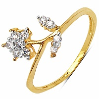 1.00 Grams White Cubic Zirconia Gold Plated Brass Flower Sha