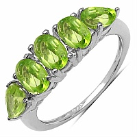 2.15CTW Genuine Peridot .925 Sterling Silver Ring