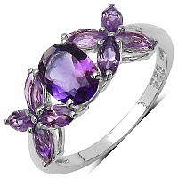 2.40CTW Genuine Amethyst .925 Sterling Silver Ring