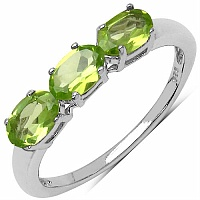 1.05CTW Genuine Peridot .925 Sterling Silver Ring