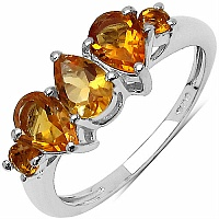1.40CTW Genuine Citrine .925 Sterling Silver Ring