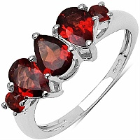 1.59CTW Genuine Garnet .925 Sterling Silver Ring
