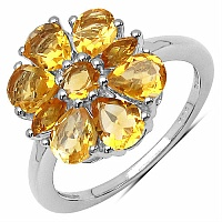 1.43CTW Genuine Citrine .925 Sterling Silver Ring