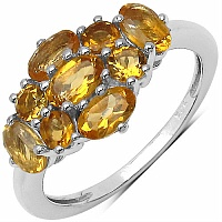 1.75CTW Genuine Citrine .925 Sterling Silver Ring