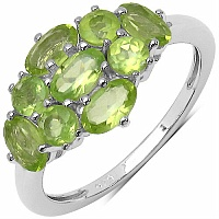 1.75CTW Genuine Peridot .925 Sterling Silver Ring