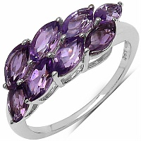 3.20CTW Genuine Amethyst .925 Sterling Silver Ring