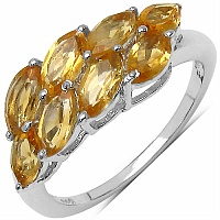 3.60CTW Genuine Citrine .925 Sterling Silver Ring