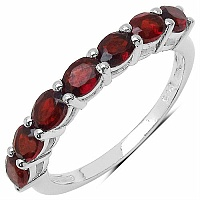 2.45CTW Genuine Garnet .925 Sterling Silver Ring