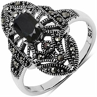 0.83CTW Genuine Black Sapphire & Marcasite .925 Sterling Silver