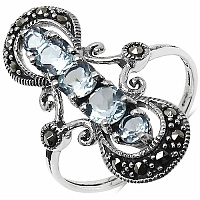 1.45CTW Genuine Blue Topaz & Marcasite .925 Sterling Silver Rin