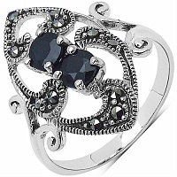 0.81CTW Genuine Black Sapphire & Marcasite .925 Sterling Silver
