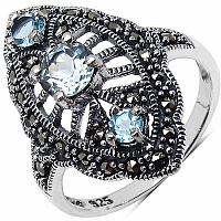 1.14CTW Genuine Blue Topaz & Marcasite .925 Sterling Silver Rin