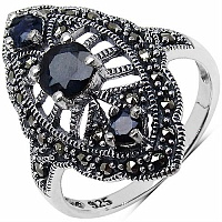 1.10CTW Genuine Black Sapphire & Marcasite .925 Sterling Silver