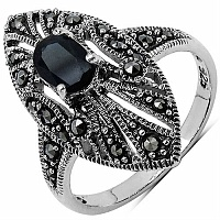 0.85CTW Genuine Black Sapphire & Marcasite .925 Sterling Silver