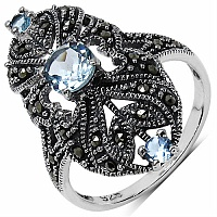 1.02CTW Genuine Blue Topaz & Marcasite .925 Sterling Silver Rin