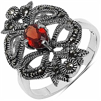 1.09CTW Genuine Garnet & Marcasite .925 Sterling Silver Ring