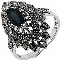 1.23CTW Genuine Black Sapphire & Marcasite .925 Sterling Silver