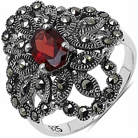 1.27CTW Genuine Garnet & Marcasite .925 Sterling Silver Ring