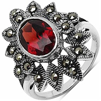 3.43CTW Genuine Garnet & Marcasite .925 Sterling Silver Ring