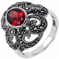 2.76CTW Genuine Garnet & Marcasite .925 Sterling Silver Ring