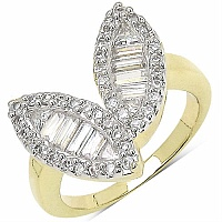 5.10 Grams White Cubic Zircon Gold Plated Brass Ring