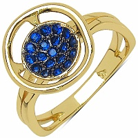0.19CTW Blue Cubic Zirconia Gold Plated .925 Sterling Silver Ri