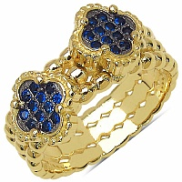 0.24CTW Blue Cubic Zirconia Gold Plated .925 Sterling Silver Ri