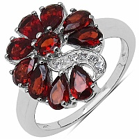 2.49CTW Garnet & White Cubic Zirconia .925 Sterling Silver Ring