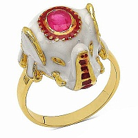 5.70 Grams Pink Stone Gold Plated .925 Sterling Silver Multicol