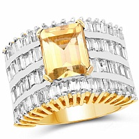 Gleam Touch 10.38 Grams Citrine & White Cubic Zirconia Gold Pla