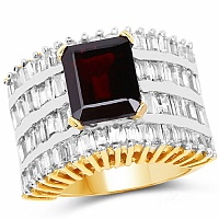 Gleam Touch 10.57 Grams Garnet & White Cubic Zirconia Gold Plat