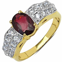 3.96 Grams Garnet & White Cubic Zirconia Gold Plated Brass R