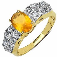 3.60 Grams Orange Glass & White Cubic Zirconia Gold Plated B