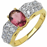 3.80 Grams Purple Glass & White Cubic Zirconia Gold Plated B