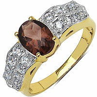 3.40 Grams Smoky Topaz & White Cubic Zirconia Gold Plated Br