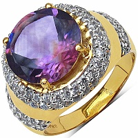 6.28 Grams Amethyst & White Cubic Zirconia Gold Plated Brass