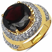 6.60 Grams Garnet & White Cubic Zirconia Gold Plated Brass R